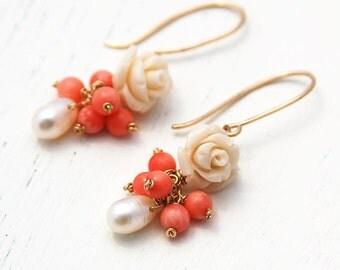 Gold earrings, rose earrings, 14k gold filled, white rose earrings, bridesmaid gift, wedding, bridal earrings, coral earrings, pearl earring