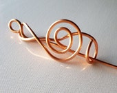 Hair Stick Wire Wrap Copper Long Shawl Pin Music Clef