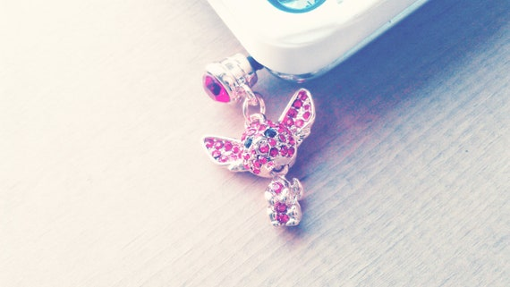 S U M M E R S P E C I A L Phone Dust Plug Charm with Red Rhinestone Cute Character