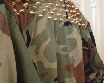 Studded Spiked Back Army Fatigue Jacket Custom or Plain Camo Camoflauge Women Men