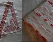LARGE BOX LOT - Redwork, net lace, homespun, yardage, fabric, embroidery, crushed velvet