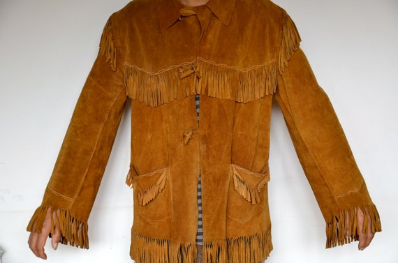 Vintage country Western cow girl/ boy fringed leather suede jacket