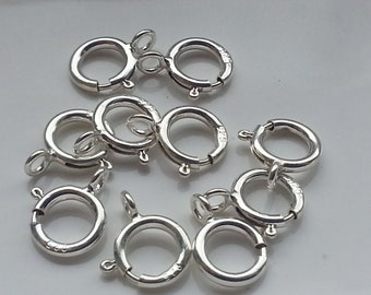 10 Pieces Sterling Silver 6mm Spring Ring Clasp