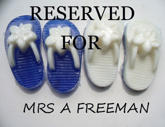 Reserved - for MrsAFreeman only - 150 - Flip Flop Soap - Wedding Favors - Custom Listing -  Blue - White
