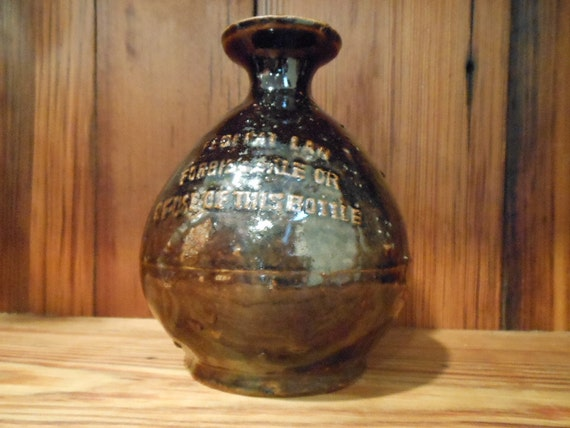 Vintage Chinese Liquor Decanter Pottery Embossed Label Collectible Bottle Barware Collectible Man Cave Gift
