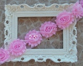 1 YARD Shabby Frayed Fabric Flowers Wholesale - 1 YARD - LIGHT Pink - Wholesale Embellishments - Frayed Flowers