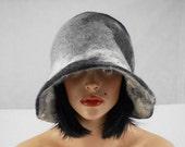 Felted Hat Cloche Hat grey Flapper hat RAW WOOL wearable art  art deco wool felt nunofelt nuno felt silk eco fiber art