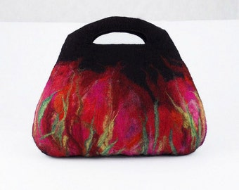 Black Bag Felted Bag Felt Handbag Nunofelt Purse Fairy Bag Artistic Purse Red Nunofelt Bag Ruby Nuno felt Handbag multicolor Fiber Art