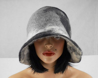 Felted Hat Cloche Hat grey Flapper hat RAW WOOL wearable art  art deco wool felt nunofelt nuno felt silk eco fiber art