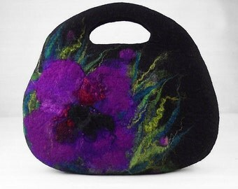 Designer Bag Felted Bag Nunofelt Handbag Rose Purse wild Felt Nunofelt Nuno felt Silk fairy floral fantasy shoulder bag Fiber Art boho