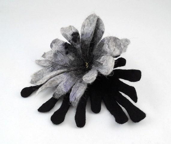 Felted Brooch nuno felt flower nunofelt silk grey gray silver fog black noir fairy folk boho wool Victorian Fairy