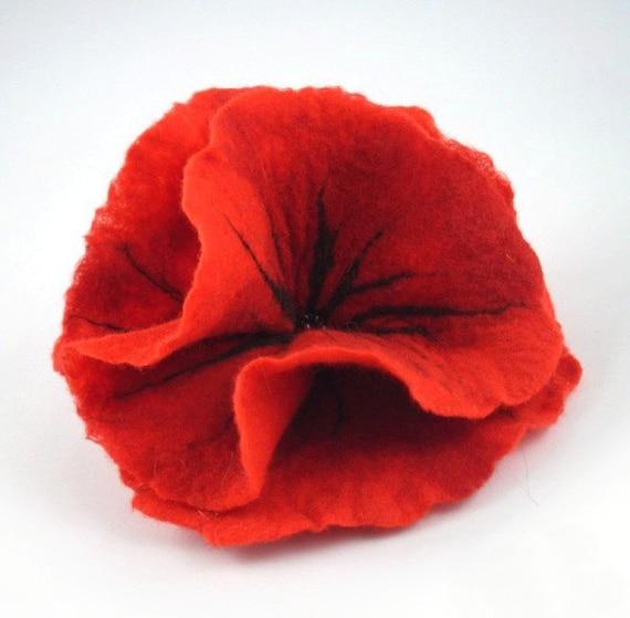 Felted Brooch felt poppy nuno nunofelt silk flower folk boho red ruby wool victorian fairy
