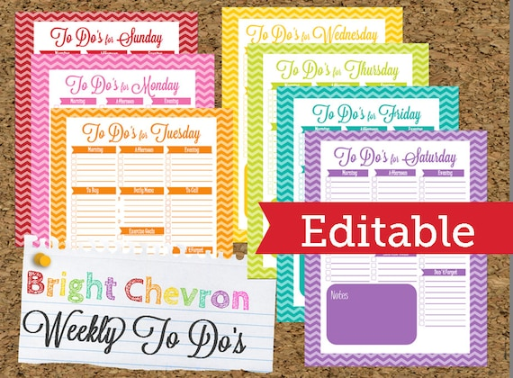 INSTANT DOWNLOAD-Editable Chevron To Do List and Weekly Planner- Home Organization Binder-Daily To Do-7 Documents