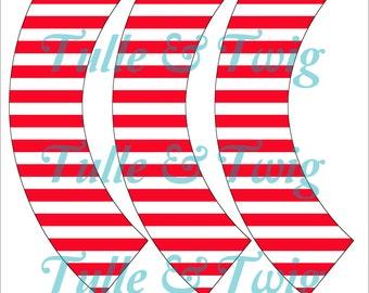 Red White Stripe Cupcake Wrappers Printable INSTANT DOWNLOAD