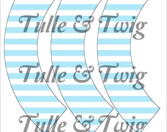 Light Blue & White Stripe Cupcake Wrappers Printable INSTANT DOWNLOAD