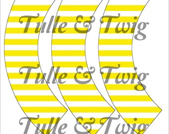 Yellow & White Stripe Cupcake Wrappers Printable INSTANT DOWNLOAD