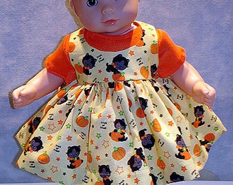 15 Inch Doll Clothes - Cats and Pumpkins Jumper Set made by Jane Ellen to fit 15 inch baby dolls