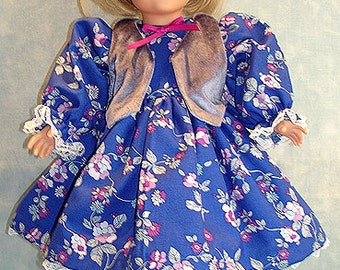 18 Inch Doll Clothes - Royal Blue Calico Dress and Vest made to fit 18 inch dolls