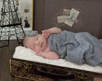CONVO Me ABOUT SALE: Gray Shabby Chic Headband, Newborn Headband, Infant Headband,  Photo Prop, Many Colors