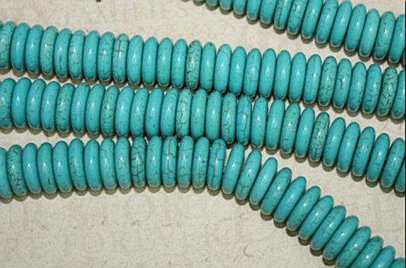 Imitation Turquoise Beads, Rondelle, blue color 12x3mm 15 inch J1200