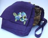 Mini Messenger Bag - Turtle - Purple Organic Cotton Linen