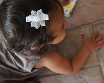 Pair of White Flower Hair Clips, Baby Hair Clips, and Girls Hair Clips and Baby Barrettes