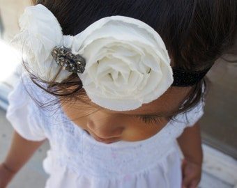 Fabric Flower Holiday /New Year Headband, Baby headbands, Baby Girl Hair Accessories, shabby Chic flowers, Newborn Headband