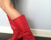 SALE Vintage Red Leather Boots SZ 6
