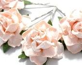 Peach Pink Rose Hair Clips, Flower Clips, Wedding Flower Pins, Bridal hair pins, Bobby Pin Flowers, Floral Hair Bobbies