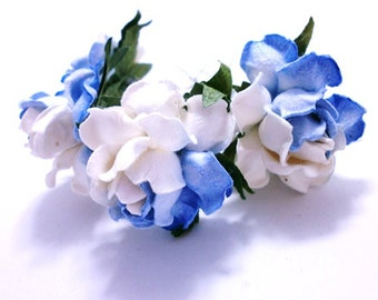 Two Tone White & Blue Rose Floral Hair Clip Set/ Unique/ Bridal/ Wedding Hair Accessories/ Bridesmaid Hair Pin/ Wedding Flower Clip