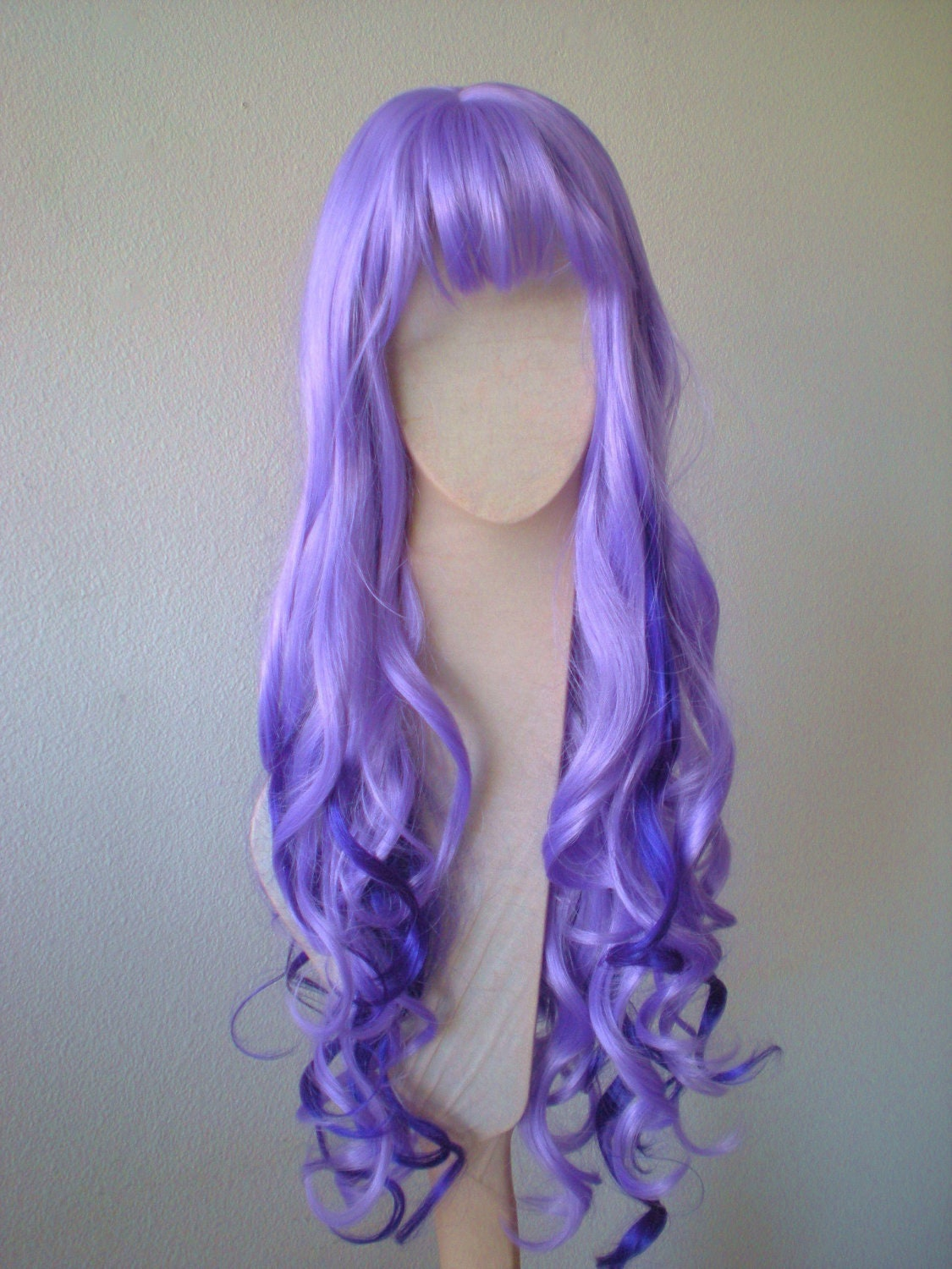 Purple Wig Dark Light Purple Wig Glamour Long Loose Curly