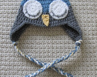 Handmade Sleepy Owl Hat With Ear-flaps 6-12 Months Ready To Ship