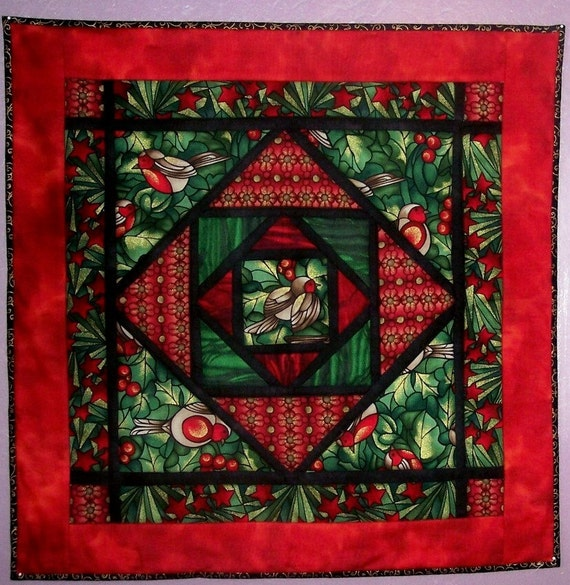 Stained Glass Christmas Robins Wall Hanging