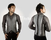 "TITELLE men waist coat corset  ""The Dandy"" - Grey, blue and antique gold / handmade to order"