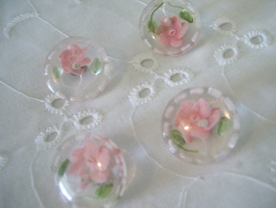 Pink Rose Buttons- Hand Painted