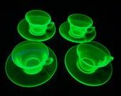1930s Vintage Vaseline Glass Tea Cups and Saucers - Uranium Glass