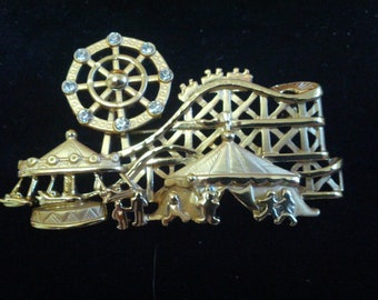 Fun Carnival AJC stamped brooch with moving Ferris Wheel