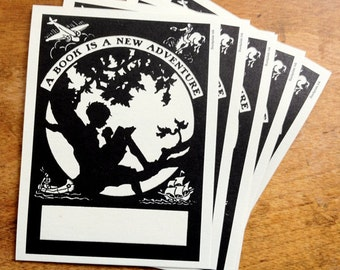"""Boy Reading In Tree Bookplate - """"A Book Is A New Adventure"""""""