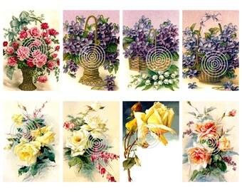 Flower Download Vintage Rose and Violets Set of 8 Graphics