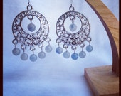 gorgeous blue-grey beads on silver hoops