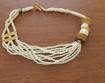 Beige Plastic and Wood Beads Come Together to Make a Way Cool Necklace, Resort wear, Beach wear, Cruise wear, Bon Boyage gift, Birthday gift