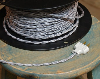 6 Feet: Silver Twisted Cloth Covered Wire, Vintage Style Cloth Lamp Cord, For Hanging Pendants, Trouble Lights etc