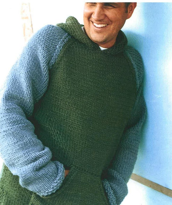 Mens Jumper Knitting Pattern : Mens and Boys Hooded Sweater Knitting Pattern PDF by TimelessOne