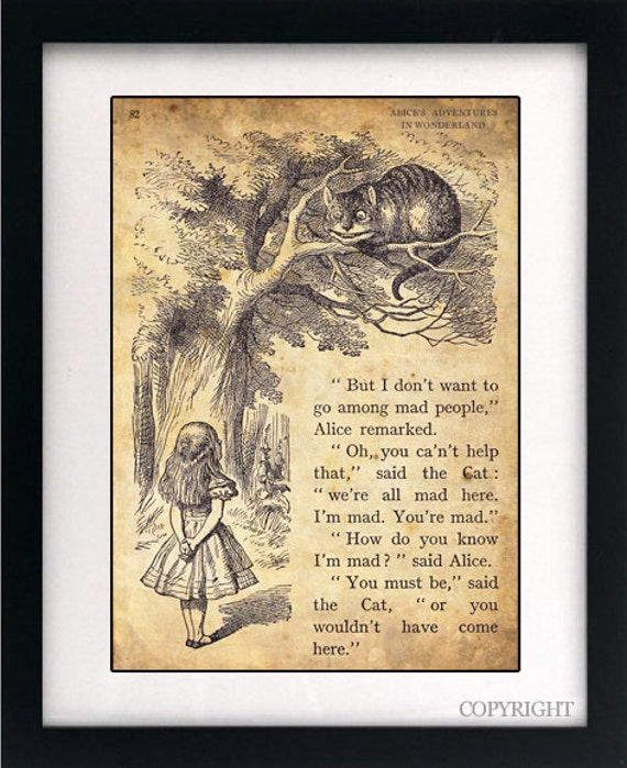 Alice In Wonderland Book Quotes: Alice In Wonderland Art Book Print A4 Or A3 By Circlewallart