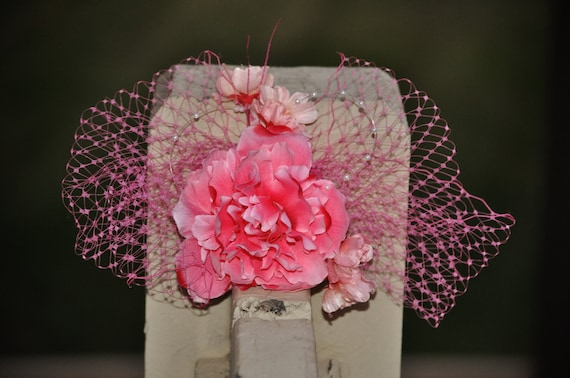 Fascinator, Hair Clip (SUE) - pink flowers, veiling