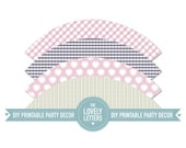 Medium size Cupcake Wrappers Pale Pink Grey Lime Cupcakes & Hearts - Parties - Printable Designs - DIY
