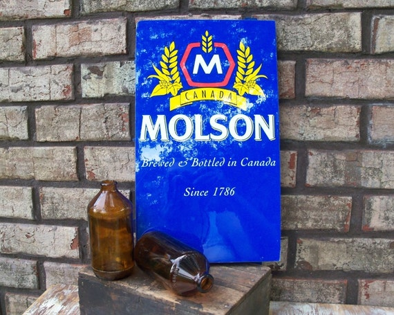 Advertising Beer Sign - Old Plastic Molson Canadian Beer Sign, Bright Blue and Nice Shine