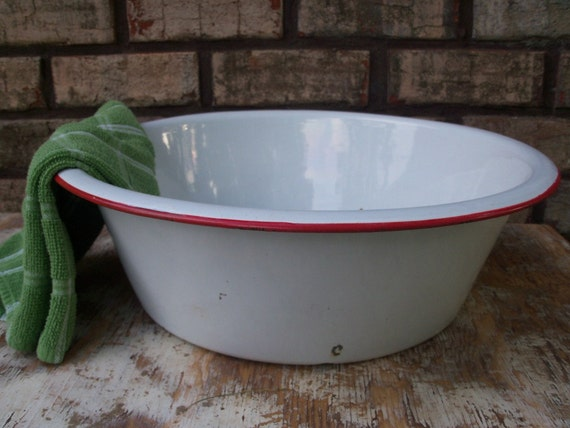 "Huge Old Farmhouse Kitchen Enamelware Basin, Over 16"" Wide, White with Red Trim"