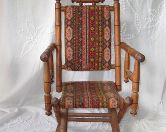 Antique Rocking Chair, Childs rocking chair, upholstered childs rocker, childrens rocker, victorian, 1800s to early 1900s