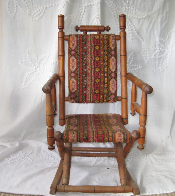 Antique Rocking Chair, Childs rocking chair, upholstered childs rocker
